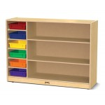 Birch Wood straight shelf with colored trays