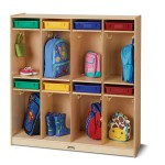 Birch Wood Cubbie with Colored Trays