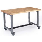 Shown with Butcher Block Top, Platinum Legs