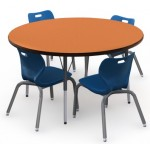 Shown in Marmalade Top, Black Edge, Black Legs, Chairs (AS4L14) Royal Blue
