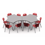Collaboration for 10 | 3P120 Table in Pressed Linen Top with 10 D10A Ruby Red Chairs