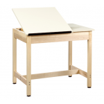 Art/Drafting Table in raised position (left) with fixed top (right)