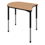 Linc student desk shown in New Age Oak with black edge and black leg