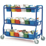 Cart | Library on Wheels With 18 Small Tubs