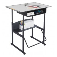 "Stand-Up Desk | AlphaBetter Adjustable-Height 36"" x 24"" Premium Top, Book Box and Swinging Footrest Bar, Gray"
