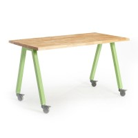 Shown in Butcher Block Top, Apple Legs
