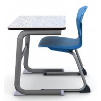 Grey Glace wtih Black edge and Titanium frame_shown with Discover Cantilever chair in Royal Blue