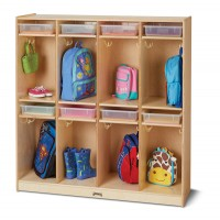 Birch Wood 8 Cubbies and 8 Clear Storage Bin
