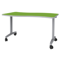 Expanse Flip-n-Nest table shown in Dublin with Titanium edge and Titanium leg