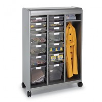 "Cascade Teacher Wardrobe Cabinet | Open | Six 3"",Six 6"", and Two 12"" Standard Width Totes"