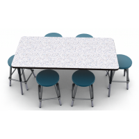 Grey Glace laminate top with Black edge and Black leg, shown with 6 Artcobell 0801 stools in Navy