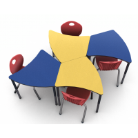 """4 desks shown in Quince and Blue Curacao with 4 D10A 18""""H chairs in Ruby Red"""
