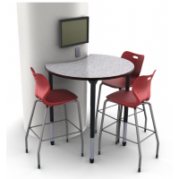 "Shown in standing height in Grey Glace with Alphabet 30""H Stools in Ruby Red stationed around a 36"" round column"