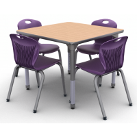 New Age Oak with Titanium edge and Titanium leg and 4 D10A chairs in Purple Iris