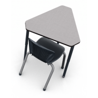 """Pressed Linen laminate with Black edge and Black leg, shown with D10A 18""""H chair in Onyx"""