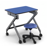 Blue Curacao laminate with Black edge_Shown in sitting height with DP08 mobile stool