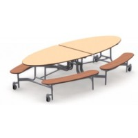 Shown in Fusion Maple Top with Wild Cherry Benches