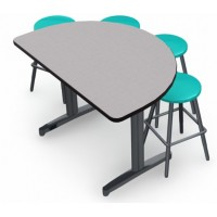 Nordic Linen with Black edge and Black leg, Stool (0802) Reef