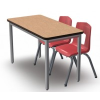 Shown in Bannister Oak Top, Black Edge, Titanium Legs, Chairs (7107) Ruby Red