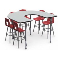 Shown in Nordic Linen Top, Black Edge, Black Legs, Chairs (7990) Ruby Red