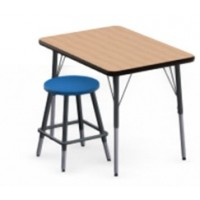 Shown in New Age Oak Top, Black Edge, Black Legs, Stool (0801) Royal Blue