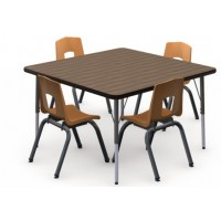 Shown in P Walnut Top, Black Edge, Black Legs, Chairs (7105C) Sunset Orange