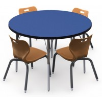 Shown in Blue Curacao Top, Black Edge, Black Legs, Chairs (AS4L14) Sunset Orange