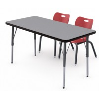 Shown in Pressed Linen Top, Black Edge, Black Legs Chairs (AS4L14) Red