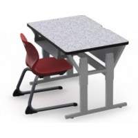 Shown in Grey Glace Top, Black Edge, Titanium Legs, Chair (ASCL14) Red