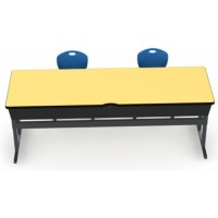 Shown in Quince Top, Black Edge, Black Legs, Chairs (D30C) Royal Blue