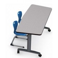 Shown in Pressed Linen Top, Black Edge, Black Legs, Chairs (D30C) Royal Blue)