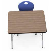 Shown in Pinnacle Walnut Top, Black Edge, Titanium Legs, Chair (D10X) Blue