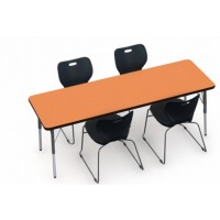 Shown in Marmalade Top, Black Edge, Black Legs, Chairs (ASSL16) Onyx