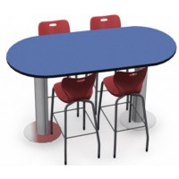 Shown Blue Curacao Top, Black Edge, Chairs (AS4ST30) Ruby Red