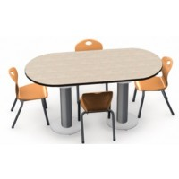 Shown in Kingswood  Walnut Top, Black Edge, Chairs (D10A) Sunset Orange