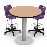 Shown in New Age Oak Top, Black Edge, Chairs (ASST18) Purple Iris