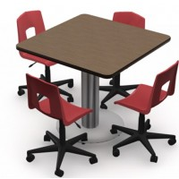 Shown in French Pear Top, Black Edge,  Chairs (7P90) Ruby Red