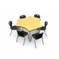 Collaboration for 6 | 3P120 Table in Yellow Markerboard Top with 6 D10A Black Chairs