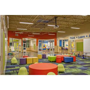 Multicolored classroom with seats