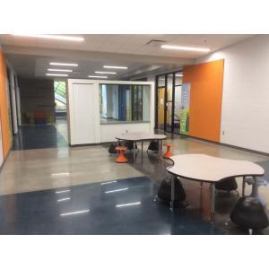 Hallway in school with modern furniture